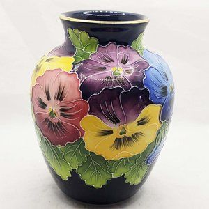 Jeanette McCall Blue Sky textured pansy navy vase